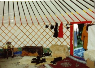 left side of yurt interior.