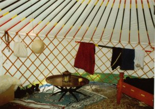right side of yurt interior